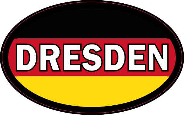 Oval German Flag Dresden Sticker