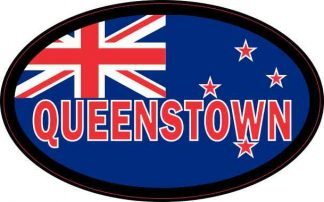 Oval New Zealand Flag Queenstown Sticker