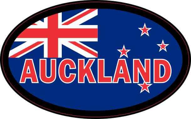 Oval New Zealand Flag Auckland Sticker
