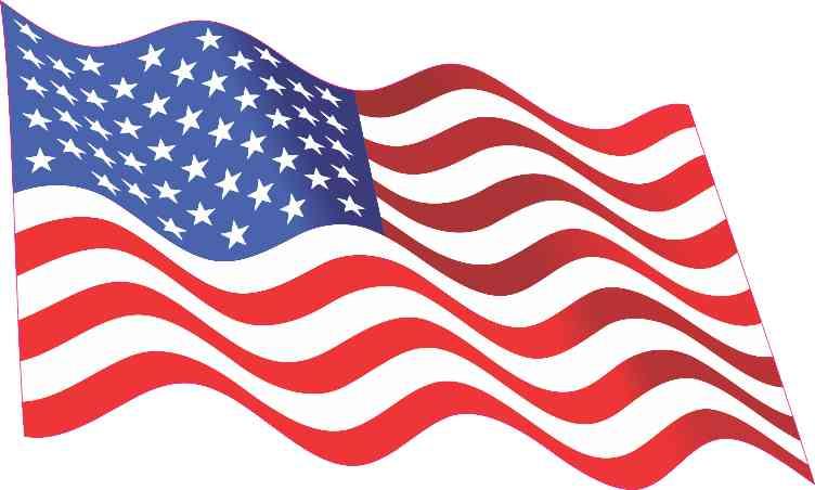 Inside Adhesive Waving American Flag Sticker