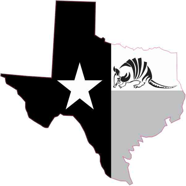 Black and White Armadillo Texas Sticker