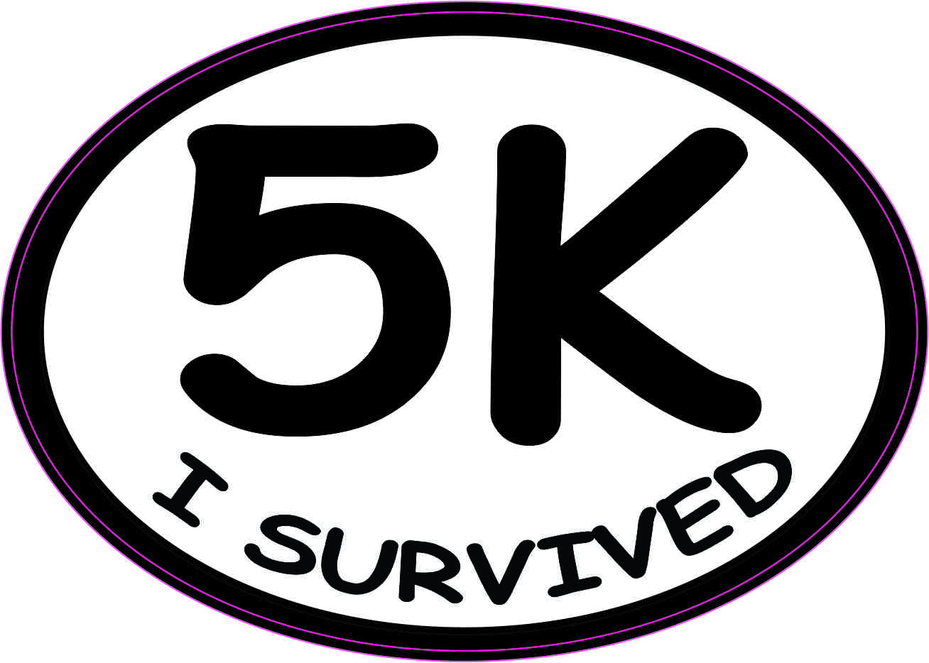 Oval I Survived 5K Sticker