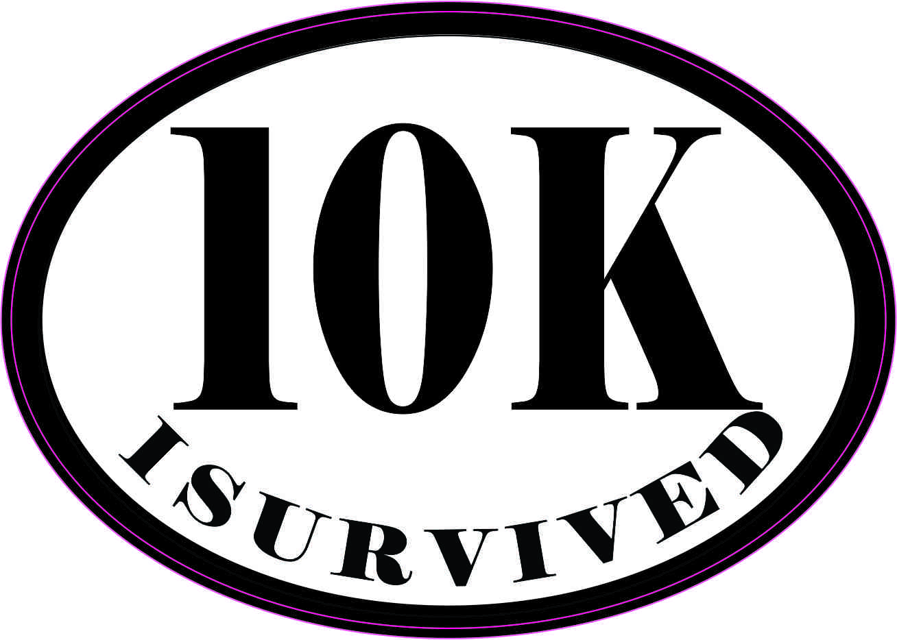 Oval I Survived 10K Sticker