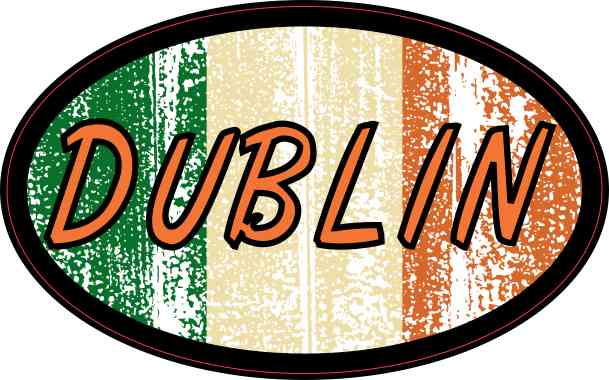 Oval Irish Flag Dublin Sticker