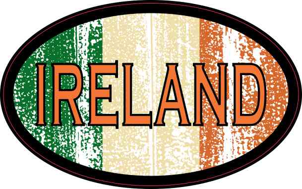 Flag Oval Ireland Sticker