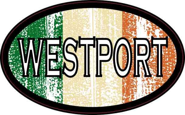 Oval Irish Flag Westport Sticker