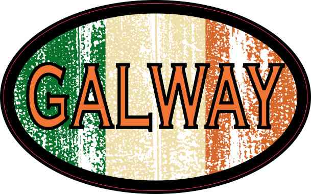 Oval Irish Flag Galway Sticker
