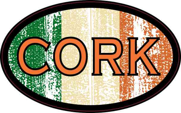 Oval Irish Flag Cork Sticker