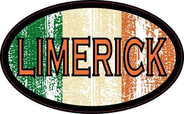 Oval Irish Flag Limerick Sticker
