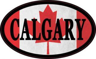 Oval Canadian Flag Calgary Sticker