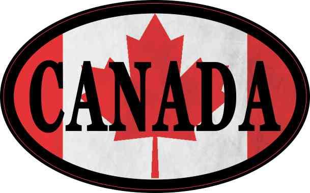 Flag Oval Canada Sticker