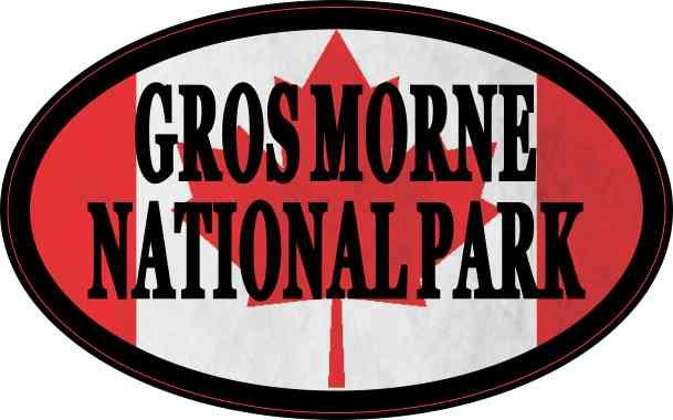 Oval Canadian Flag Gros Morne National Park Sticker