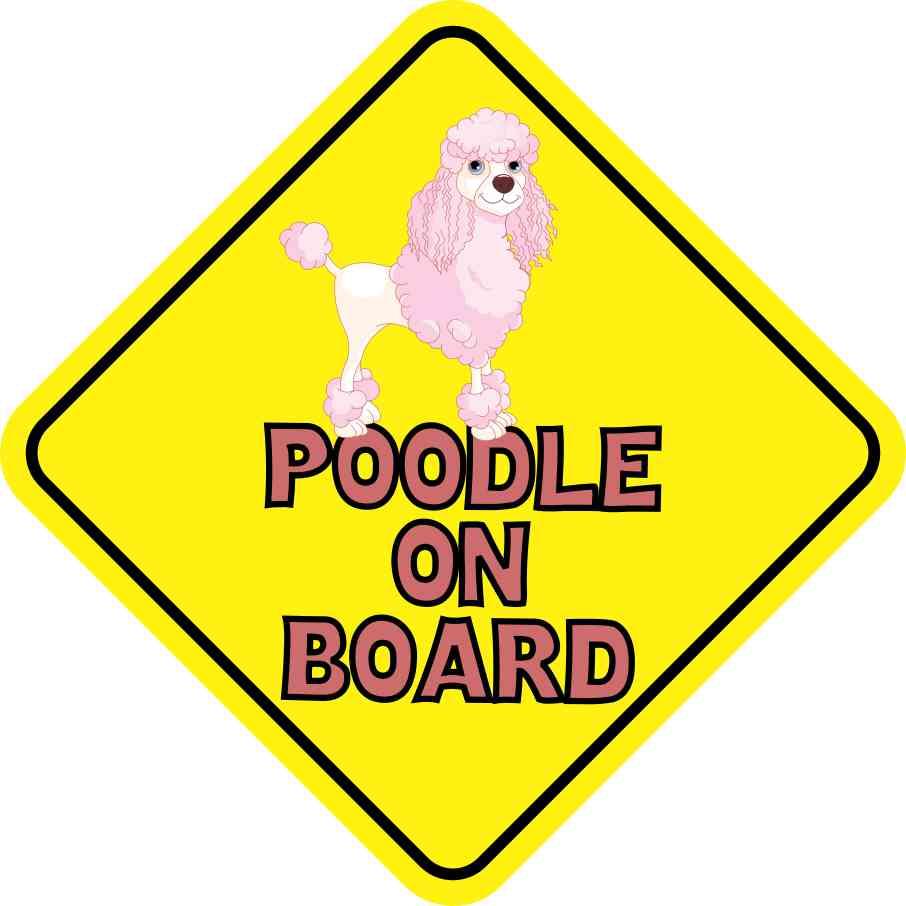 Pink Poodle on Board Sticker