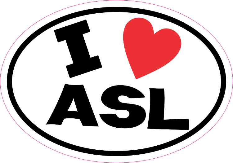 Oval I Love ASL Sticker