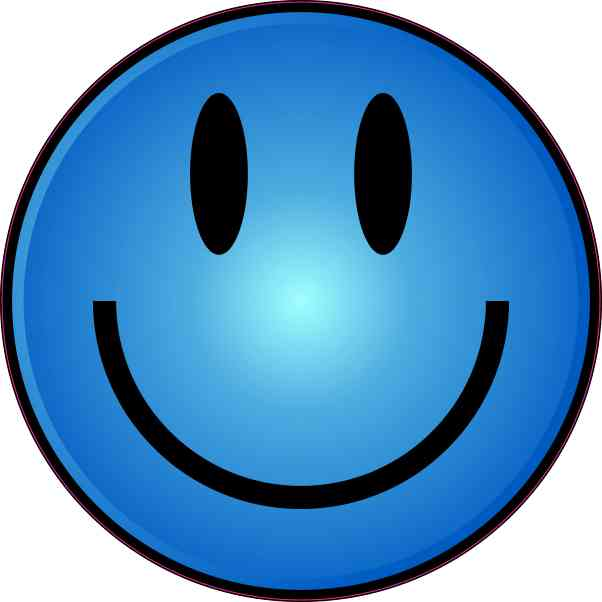 Blue Smiley Face Sticker