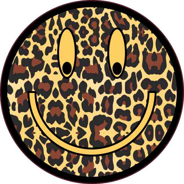 Cheetah Print Smiley Face Sticker