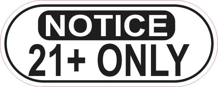 Oblong Notice 21+ Only Sticker