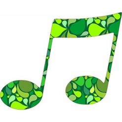 Green Paisley Double Eighth Note Sticker