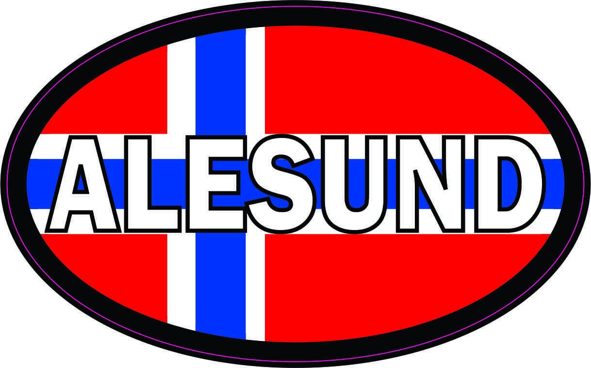 Oval Norwegian Flag Alesund Sticker