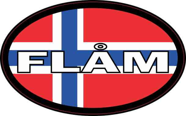 Oval Norwegian Flag Flåm Sticker