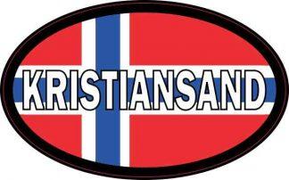 Oval Norwegian Flag Kristiansand Sticker