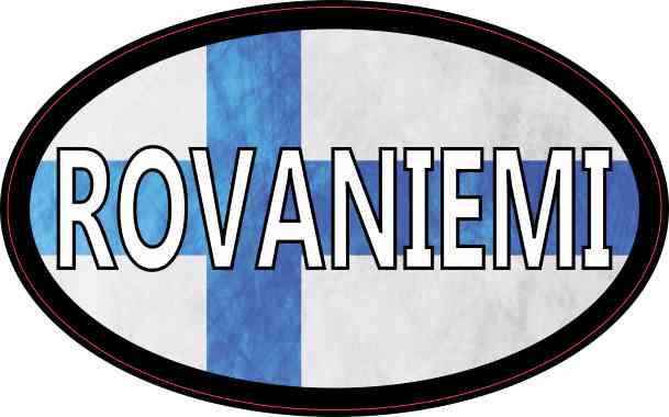 Oval Finnish Flag Rovaniemi Sticker