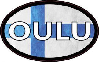 Oval Finnish Flag Oulu Sticker