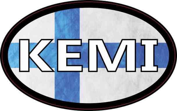 Oval Finnish Flag Kemi Sticker