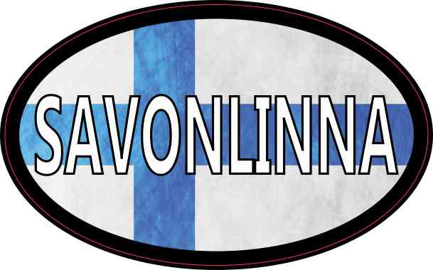 Oval Finnish Flag Savonlinna Sticker