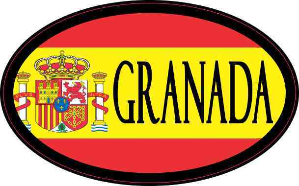 Oval Spanish Flag Granada Sticker