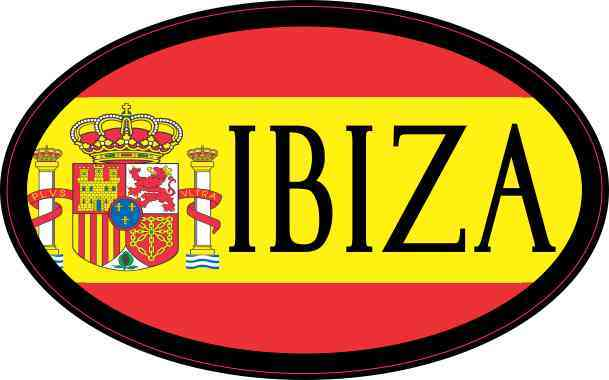 Oval Spanish Flag Ibiza Sticker