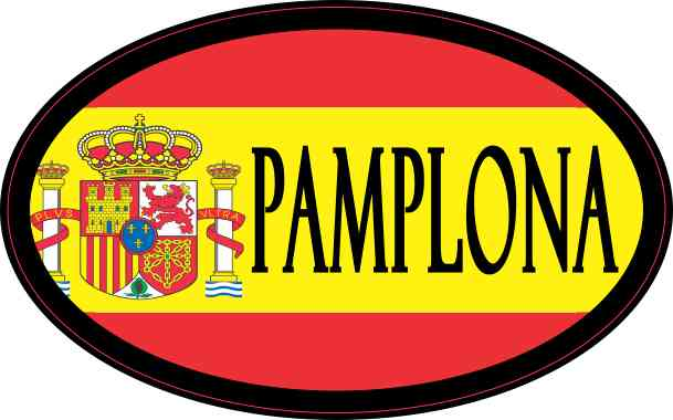 Oval Spanish Flag Pamplona Sticker