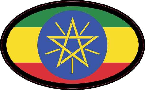 Oval Ethiopian Flag Sticker