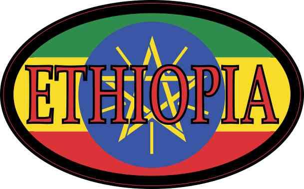 Flag Oval Ethiopia Sticker