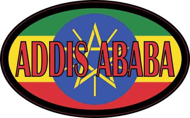 Oval Ethiopian Flag Addis Ababa Sticker