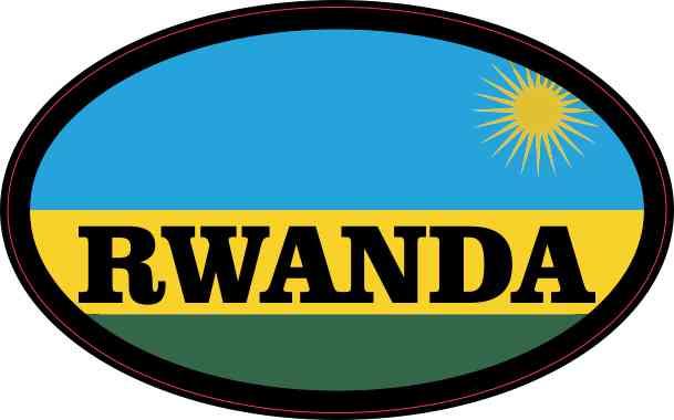 Flag Oval Rwanda Sticker