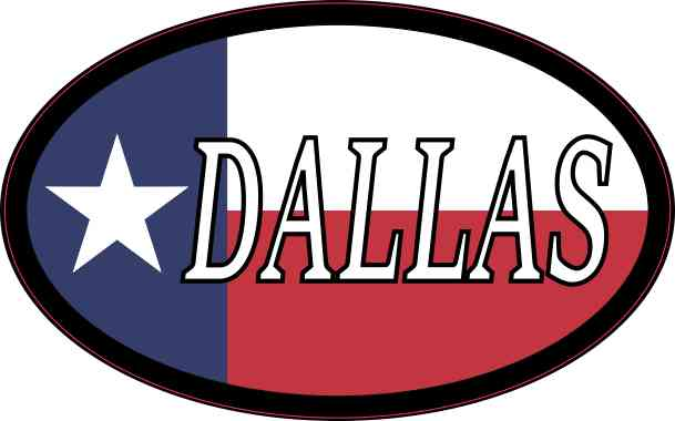 Oval Texan Flag Dallas Sticker