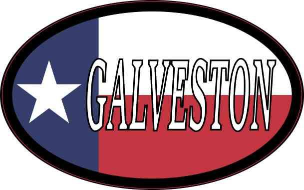Oval Texan Flag Galveston Sticker