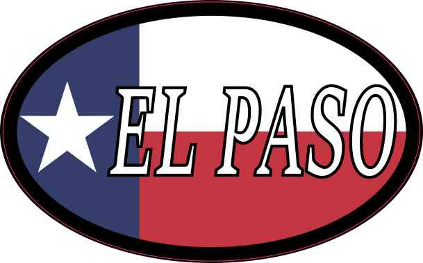 Oval Texan Flag El Paso Sticker