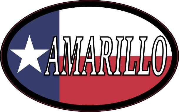Oval Texan Flag Amarillo Sticker