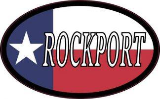 Oval Texan Flag Rockport Sticker