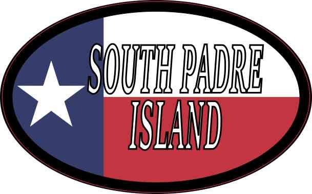 Oval Texan Flag South Padre Island Sticker