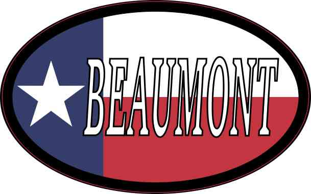 Oval Texan Flag Beaumont Sticker