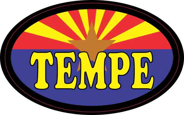 Oval Arizonan Flag Tempe Sticker