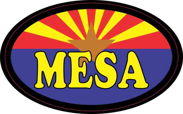 Oval Arizonan Flag Mesa Sticker