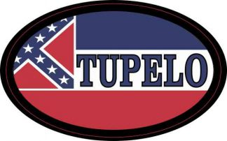 Oval Mississippi Flag Tupelo Sticker