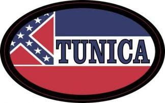 Oval Mississippi Flag Tunica Sticker