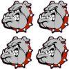 Red Collared Bulldog Stickers