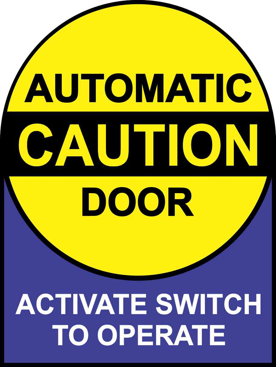 Double Sided Instructions Caution Automatic Door Sticker