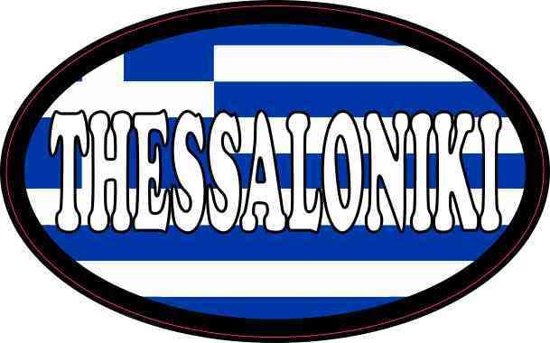 Oval Greek Flag Thessaloniki Sticker